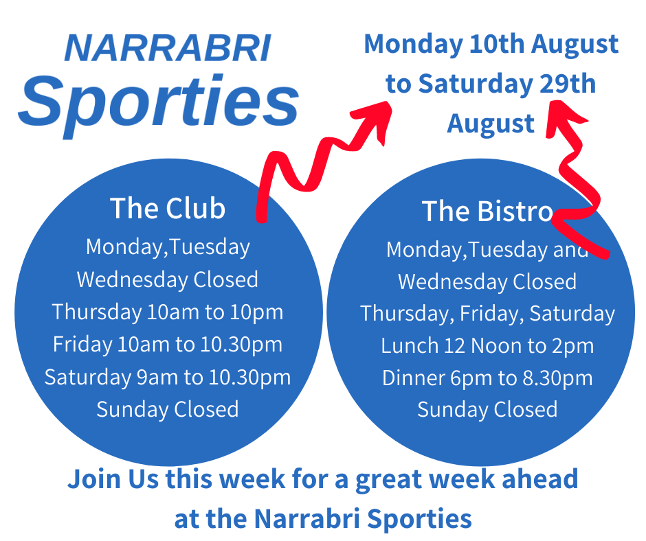 Sporties Opening hours august